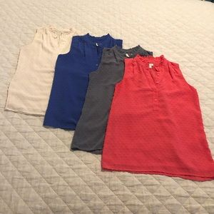 4 J. Crew sleeveless tops size 0